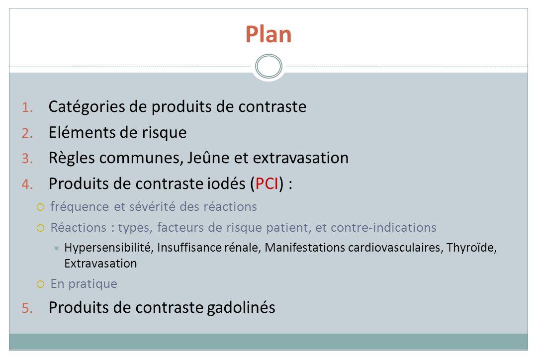 Plan 1. Catégories de produits de contraste 2. Eléments de risque 3. Règles communes, Jeûne et extravasation 4. Produits de contraste iodés (PCI) : fr