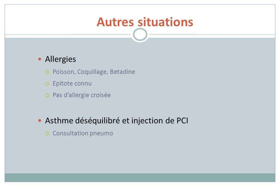 Autres situations Allergies Poisson, Coquillage, Betadine Epitote connu Pas dallergie croisée Asthme déséquilibré et injection de PCI Consultation pne