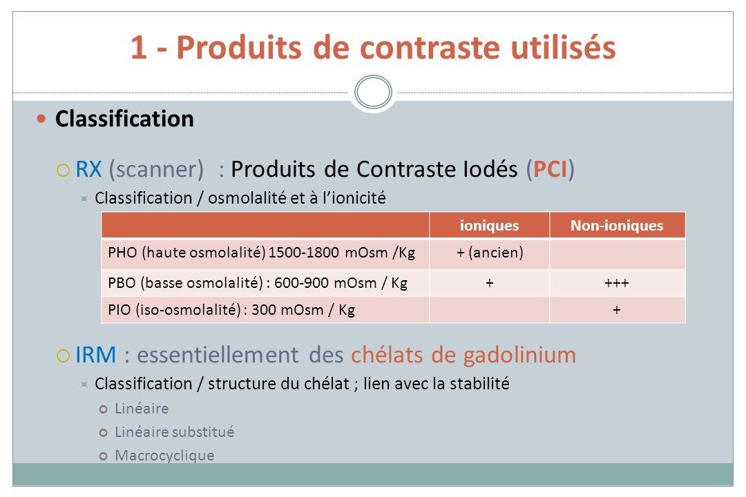 1 - Produits de contraste utilisés Classification RX (scanner) : Produits de Contraste Iodés (PCI) Classification / osmolalité et à lionicité IRM : es