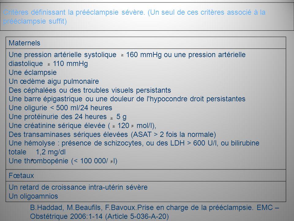 Critères définissant la prééclampsie sévère. (Un seul de ces critères associé à la prééclampsie suffit) Maternels Une pression artérielle systolique 1