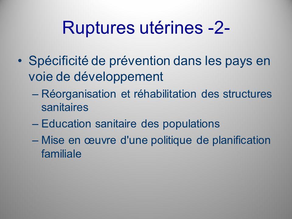 Ruptures utérines -2- Spécificité de prévention dans les pays en voie de développement –Réorganisation et réhabilitation des structures sanitaires –Ed