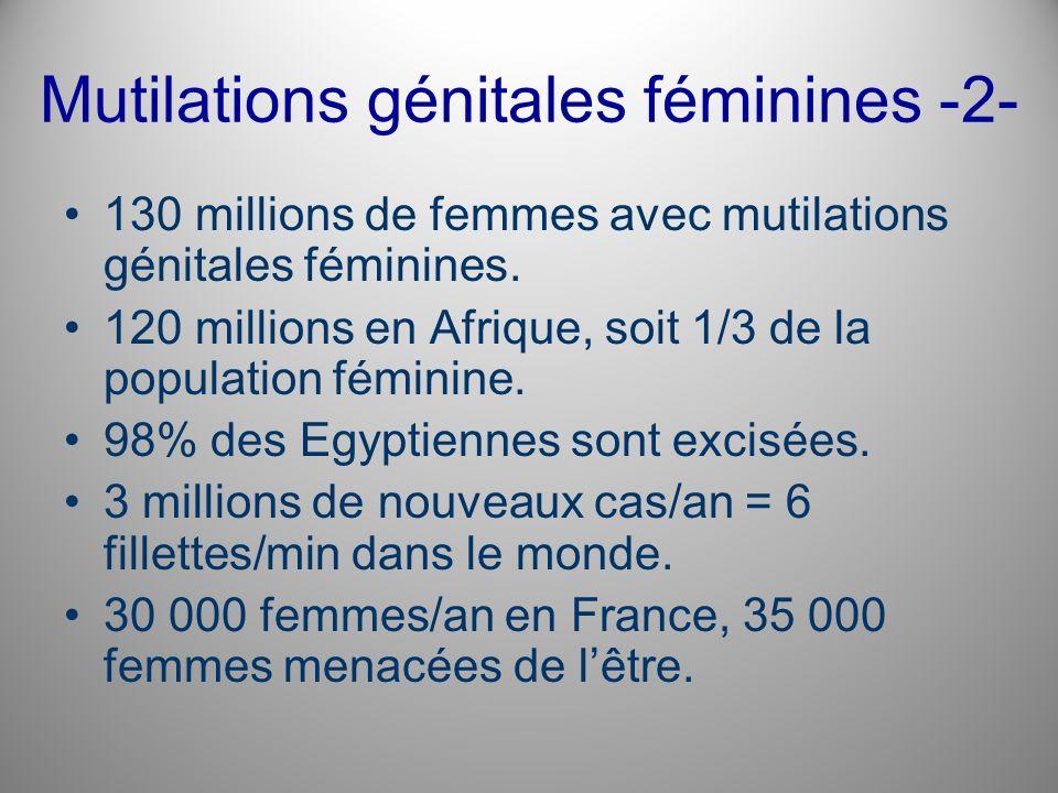 Mutilations génitales féminines -2- 130 millions de femmes avec mutilations génitales féminines. 120 millions en Afrique, soit 1/3 de la population fé
