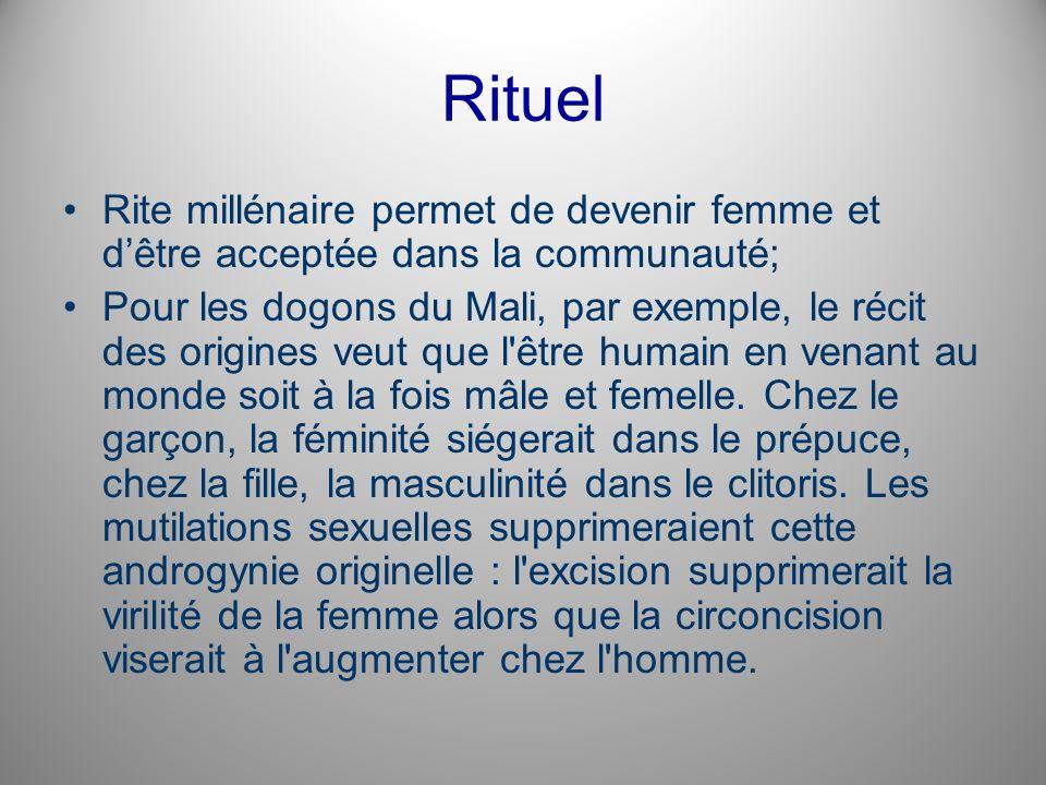 Rituel Rite millénaire permet de devenir femme et dêtre acceptée dans la communauté; Pour les dogons du Mali, par exemple, le récit des origines veut