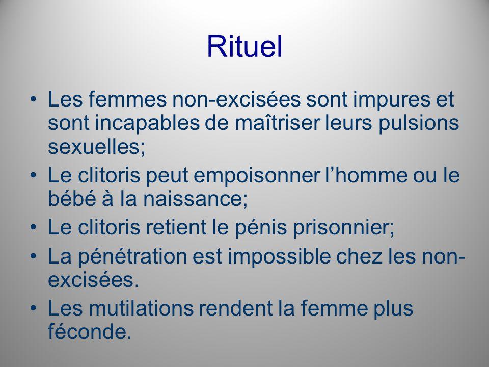 Rituel Les femmes non-excisées sont impures et sont incapables de maîtriser leurs pulsions sexuelles; Le clitoris peut empoisonner lhomme ou le bébé à