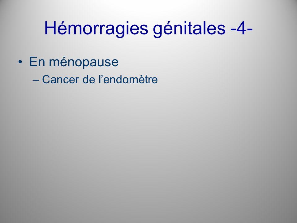 Hémorragies génitales -4- En ménopause –Cancer de lendomètre
