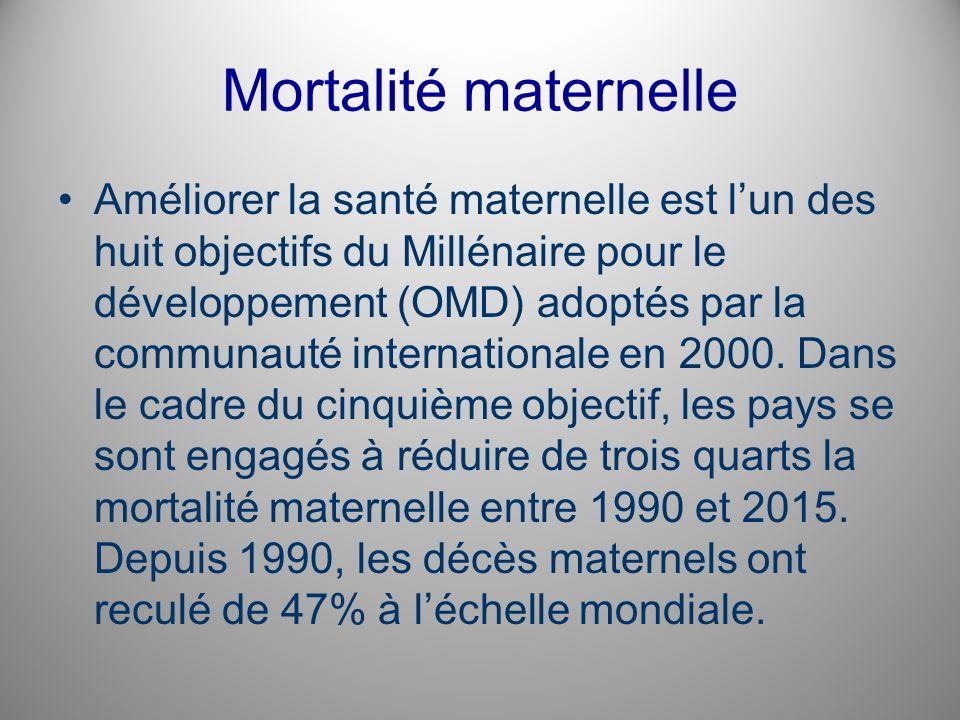 Mortalité maternelle Améliorer la santé maternelle est lun des huit objectifs du Millénaire pour le développement (OMD) adoptés par la communauté inte