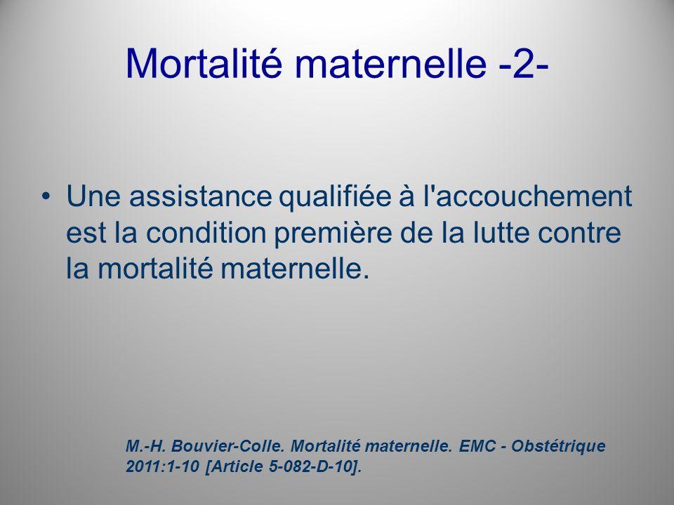 Mortalité maternelle -2- Une assistance qualifiée à l'accouchement est la condition première de la lutte contre la mortalité maternelle. M.-H. Bouvier