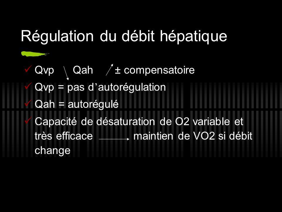 Régulation du débit hépatique Qvp Qah ± compensatoire Qvp = pas d autorégulation Qah = autorégulé Capacité de désaturation de O2 variable et très effi