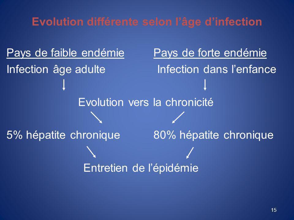 15 Evolution différente selon lâge dinfection Pays de faible endémiePays de forte endémie Infection âge adulte Infection dans lenfance Evolution vers la chronicité 5% hépatite chronique80% hépatite chronique Entretien de lépidémie