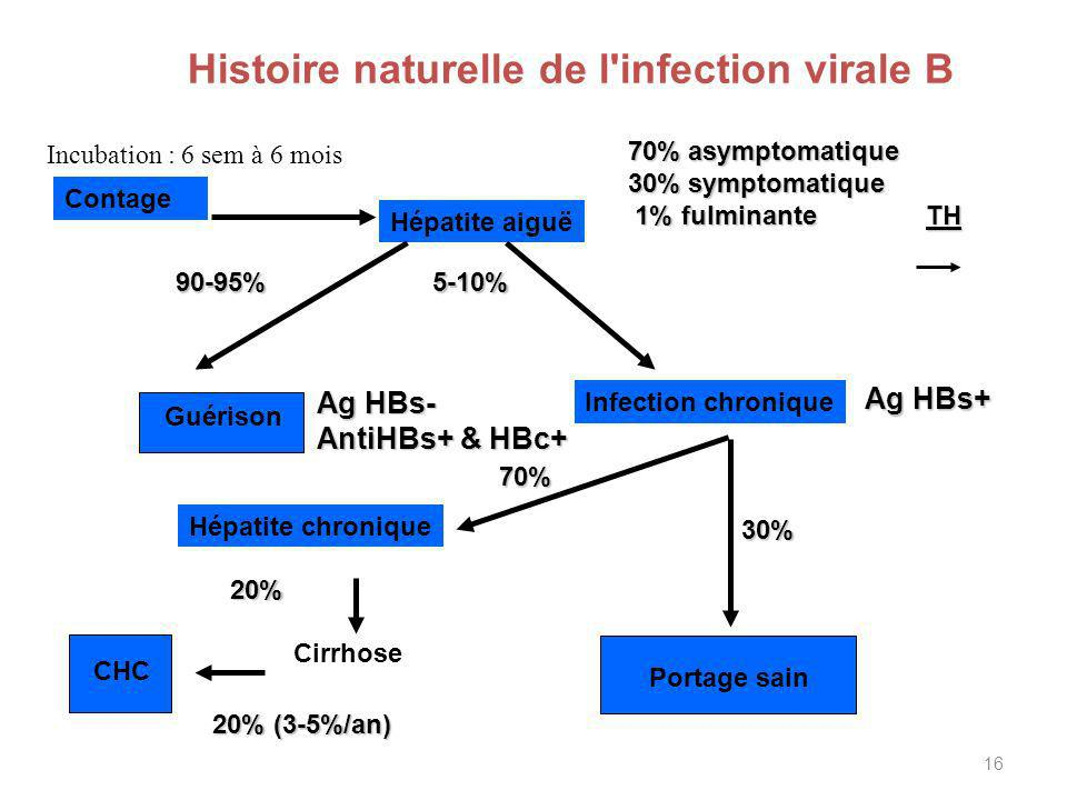 16 Histoire naturelle de l'infection virale B Hépatite aiguë Contage Guérison 90-95% Infection chronique 30% 5-10% 70% Hépatite chronique Cirrhose 20%