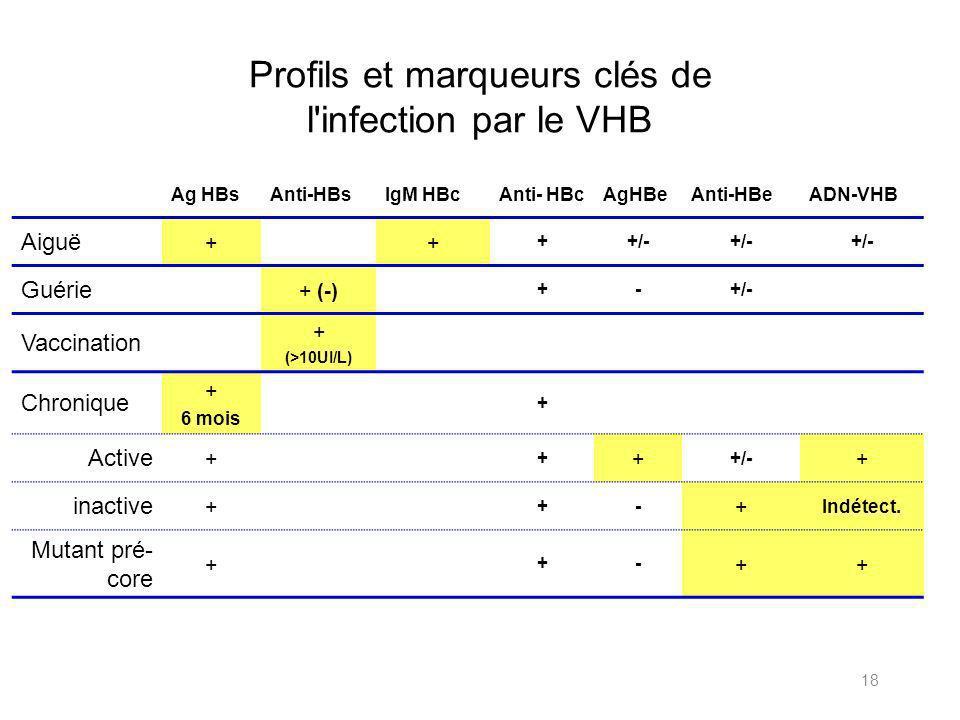 18 Profils et marqueurs clés de l infection par le VHB Ag HBsAnti-HBsIgM HBcAnti- HBcAgHBeAnti-HBeADN-VHB Aiguë ++ ++/- Guérie + (-) +-+/- Vaccination + (>10UI/L) Chronique + 6 mois + Active + + + +/- + inactive + +- + Indétect.