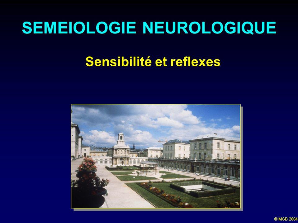 © MGB 2004 Sensibilité et reflexes SEMEIOLOGIE NEUROLOGIQUE