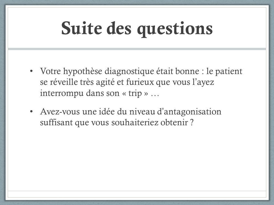 Suite des questions Votre hypothèse diagnostique était bonne : le patient se réveille très agité et furieux que vous layez interrompu dans son « trip