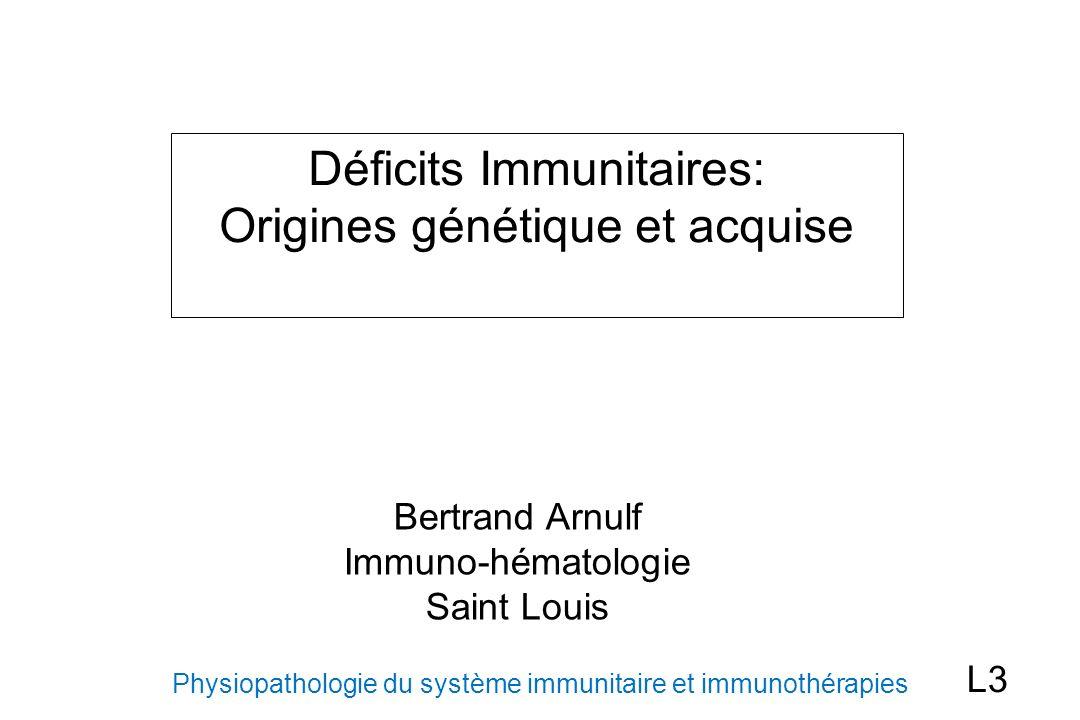 Déficits immunitaires complexes/syndromiques Association déficit immunitaire B et T et autres symptômes Syndrome de Wiskott-Aldrich (lié à lX): WASP (cytosquelette) eczéma, thrombopénie (microplaquettes) infections bactériennes et/ou virales répétées Auto-immunité et lymphomes lymphopénie CD8, hypogammaglobulinémie Ataxie-Télangiectasie (AR): ATM (réparation ADN) ataxie cerebelleuse, télangiectasies (conjonctives) déficit cellulaire avec lymphopénie progressive, baisse IgA, G Cancers et lymphomes
