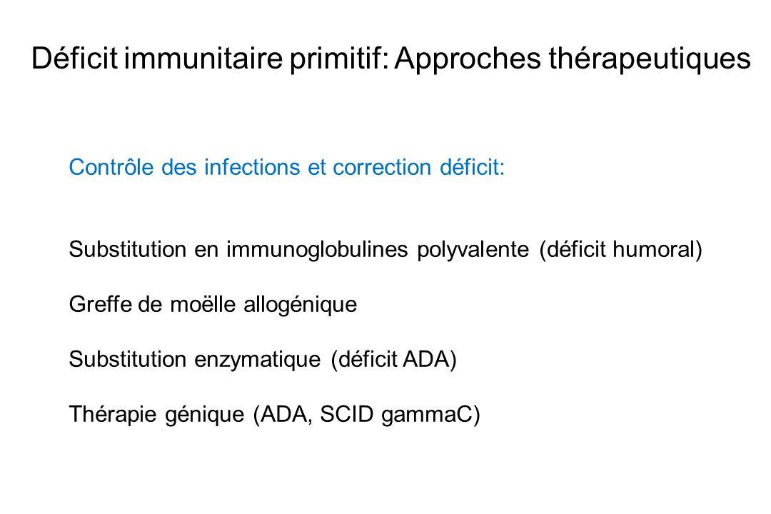Déficit immunitaire primitif: Approches thérapeutiques Contrôle des infections et correction déficit: Substitution en immunoglobulines polyvalente (dé