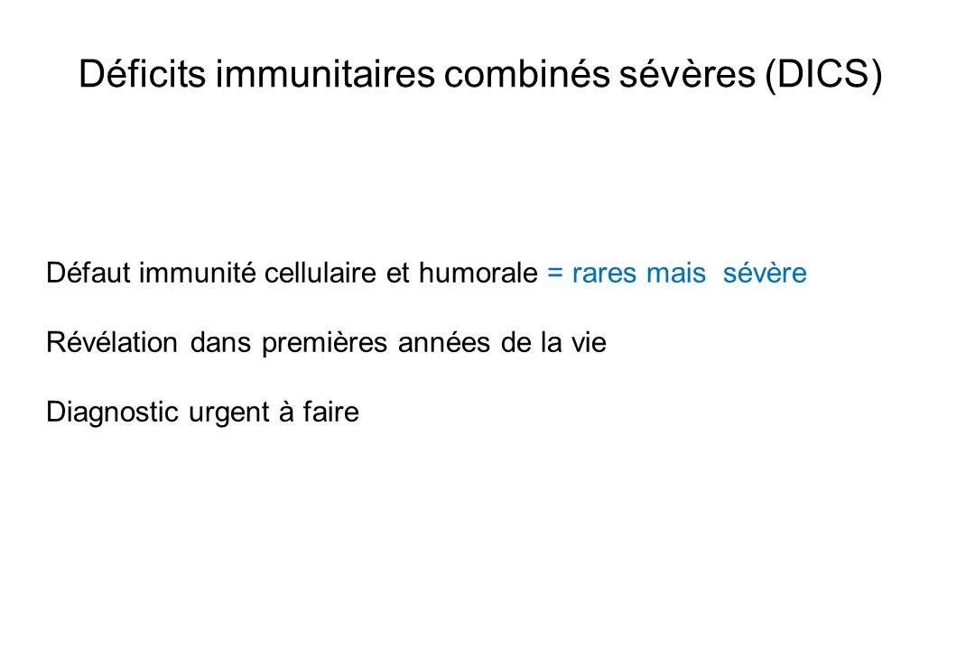 Déficits immunitaires combinés sévères (DICS) Défaut immunité cellulaire et humorale = rares mais sévère Révélation dans premières années de la vie Di