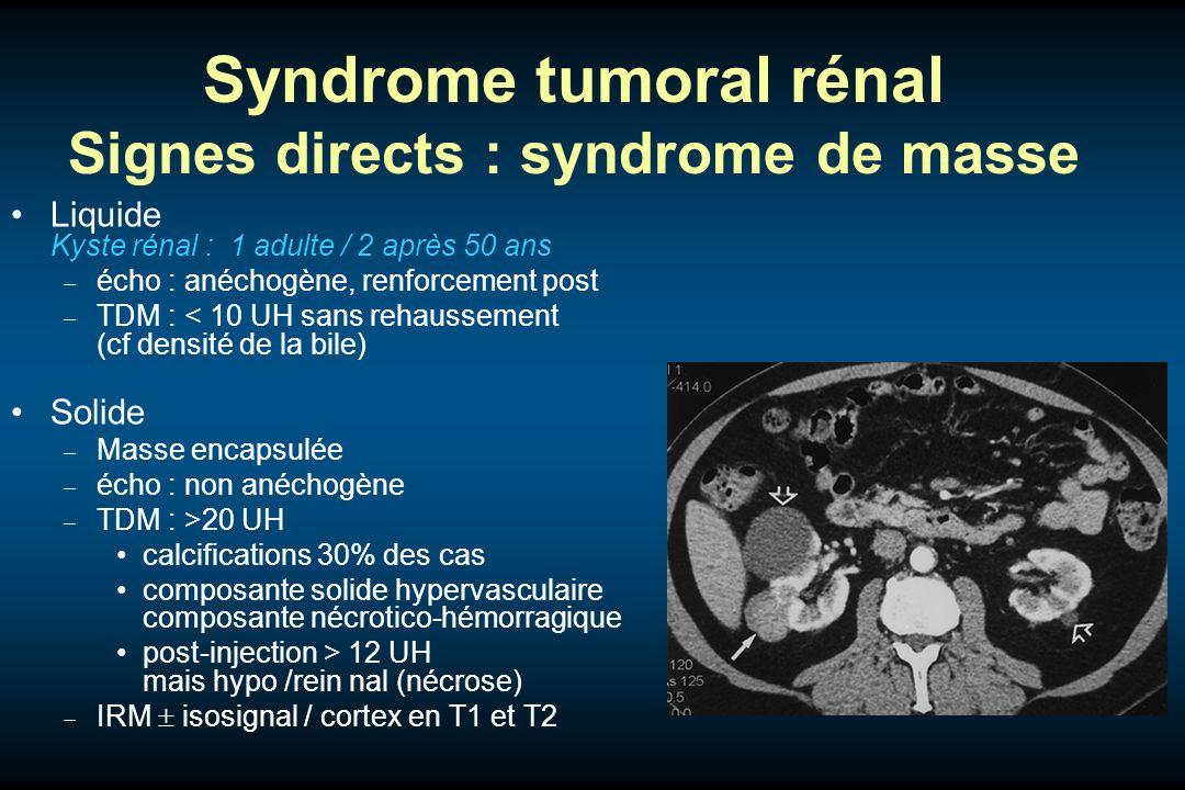 Syndrome tumoral rénal Signes directs : syndrome de masse Liquide Kyste rénal : 1 adulte / 2 après 50 ans écho : anéchogène, renforcement post TDM : <