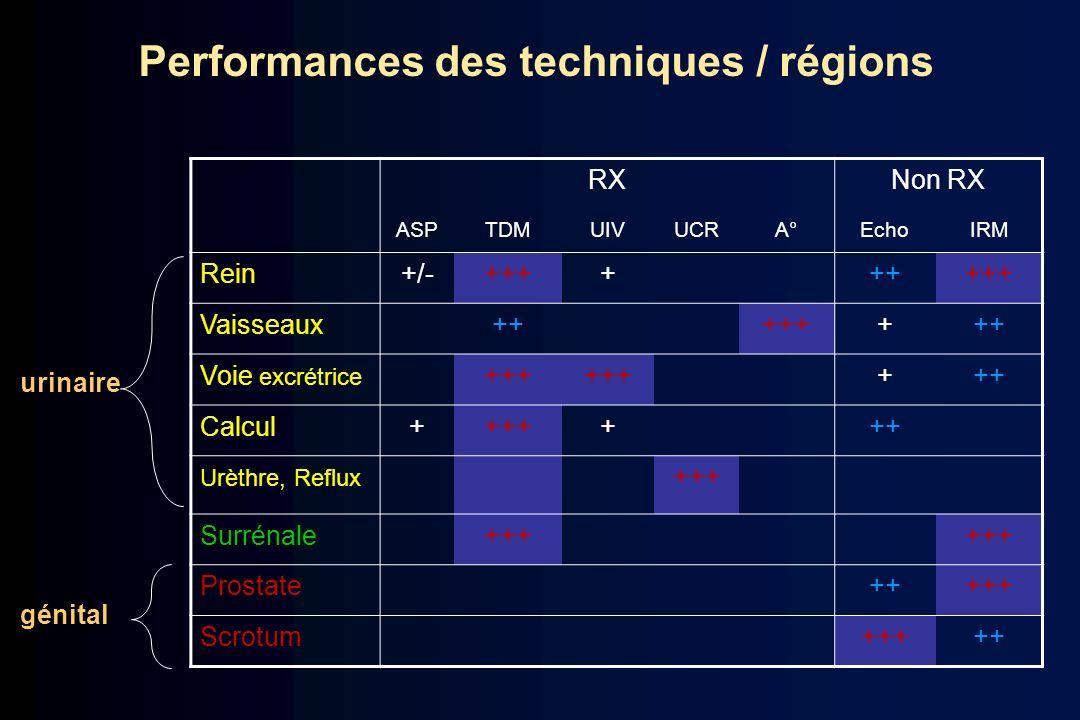 RXNon RX ASPTDMUIVUCRA°EchoIRM Rein+/-+++++++++ Vaisseaux++++++++ Voie excrétrice +++ +++ Calcul+++++++ Urèthre, Reflux +++ Surrénale+++ Prostate+++++