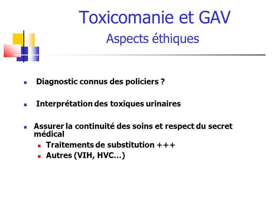 Toxicomanie et GAV Aspects éthiques Diagnostic connus des policiers ? Interprétation des toxiques urinaires Assurer la continuité des soins et respect