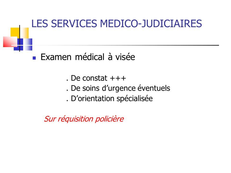 LES SERVICES MEDICO-JUDICIAIRES Examen médical à visée. De constat +++. De soins durgence éventuels. Dorientation spécialisée Sur réquisition policièr