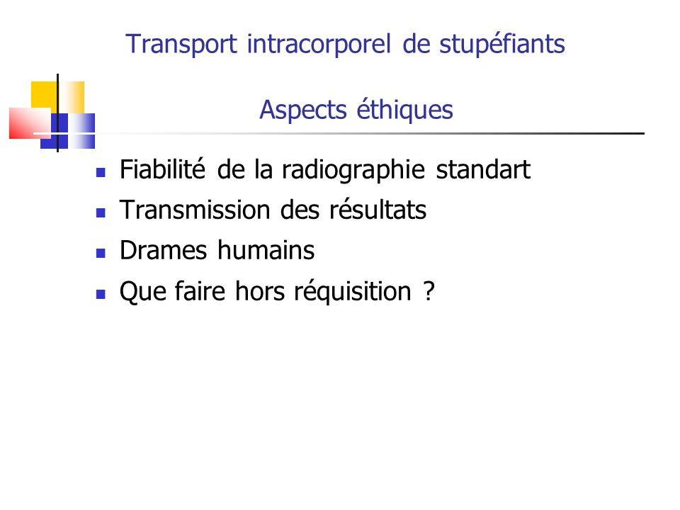 Transport intracorporel de stupéfiants Aspects éthiques Fiabilité de la radiographie standart Transmission des résultats Drames humains Que faire hors