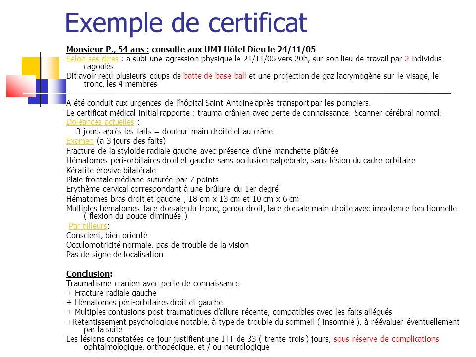 Exemple de certificat Monsieur P., 54 ans : consulte aux UMJ Hôtel Dieu le 24/11/05 Selon ses dires : a subi une agression physique le 21/11/05 vers 2