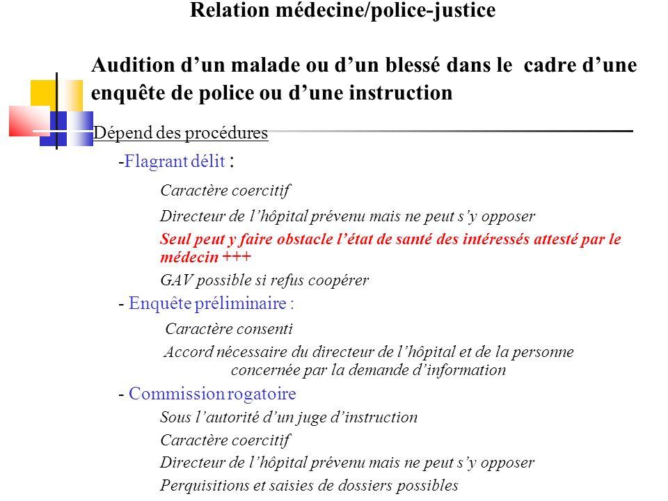 Relation médecine/police-justice Audition dun malade ou dun blessé dans le cadre dune enquête de police ou dune instruction Dépend des procédures -Fla
