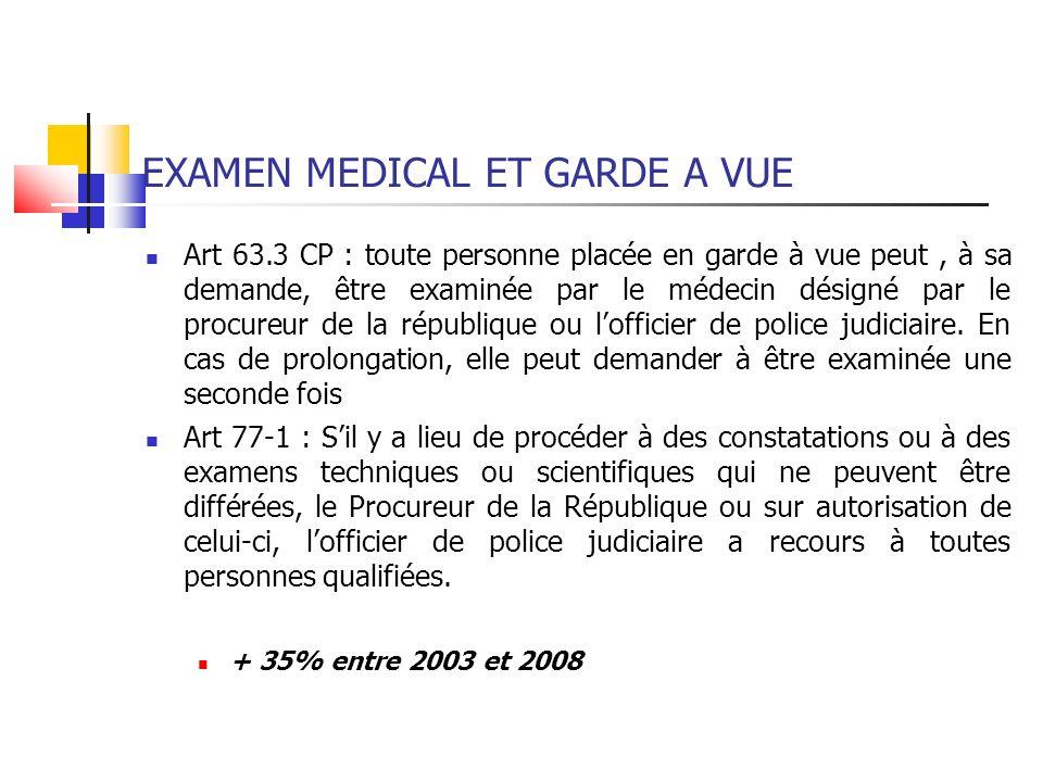 EXAMEN MEDICAL ET GARDE A VUE Art 63.3 CP : toute personne placée en garde à vue peut, à sa demande, être examinée par le médecin désigné par le procu