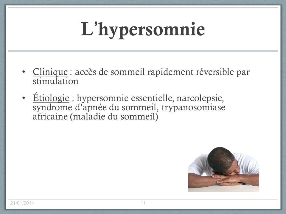 Lhypersomnie Clinique : accès de sommeil rapidement réversible par stimulation Étiologie : hypersomnie essentielle, narcolepsie, syndrome dapnée du so