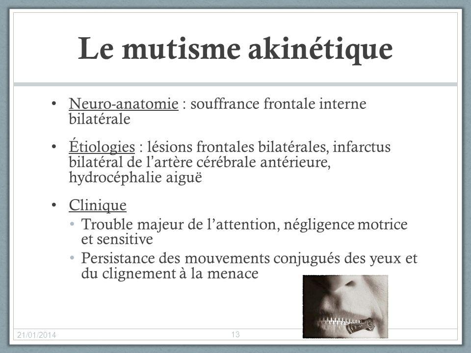 Le mutisme akinétique Neuro-anatomie : souffrance frontale interne bilatérale Étiologies : lésions frontales bilatérales, infarctus bilatéral de lartè