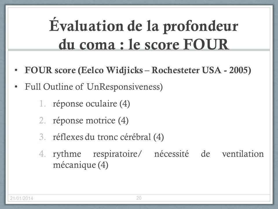 Évaluation de la profondeur du coma : le score FOUR FOUR score (Eelco Widjicks – Rochesteter USA - 2005) Full Outline of UnResponsiveness) 1.réponse o