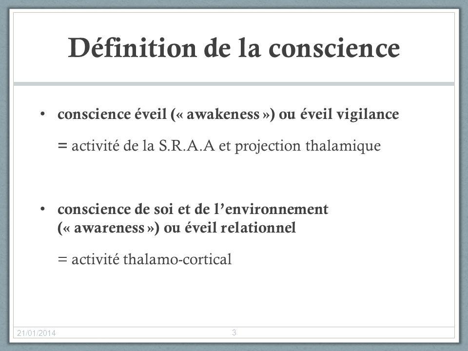 Définition de la conscience conscience éveil (« awakeness ») ou éveil vigilance = activité de la S.R.A.A et projection thalamique conscience de soi et