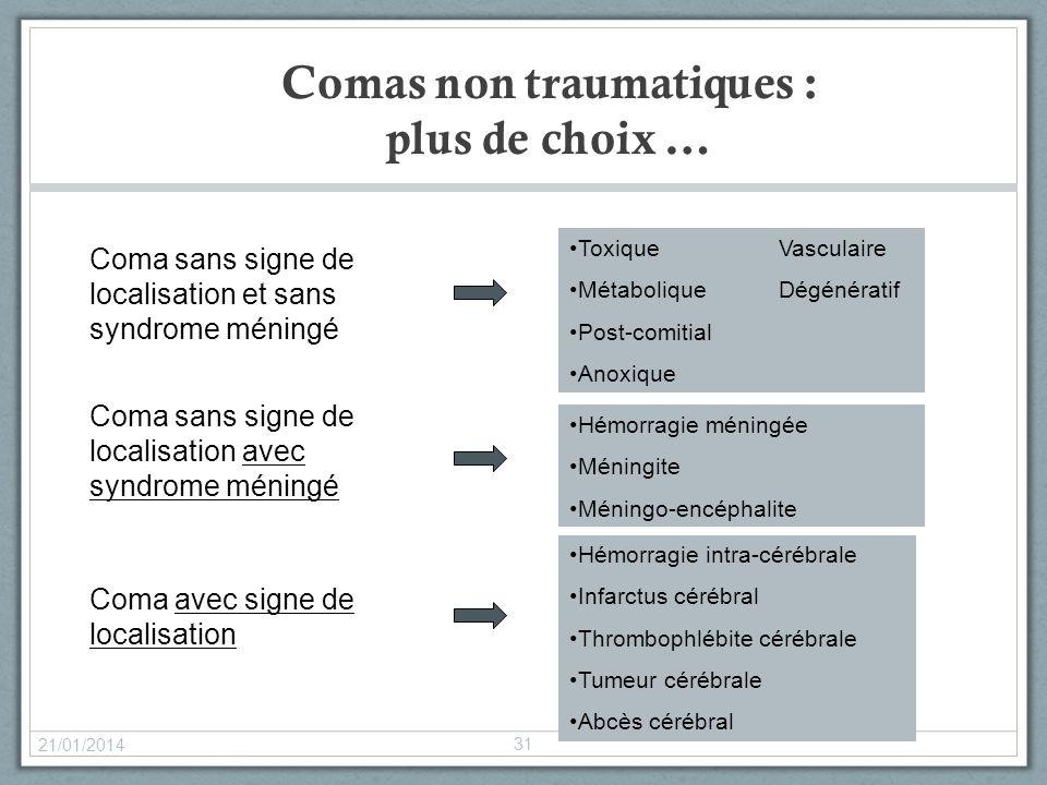 Comas non traumatiques : plus de choix … 21/01/2014 31 Coma sans signe de localisation et sans syndrome méningé Coma sans signe de localisation avec s