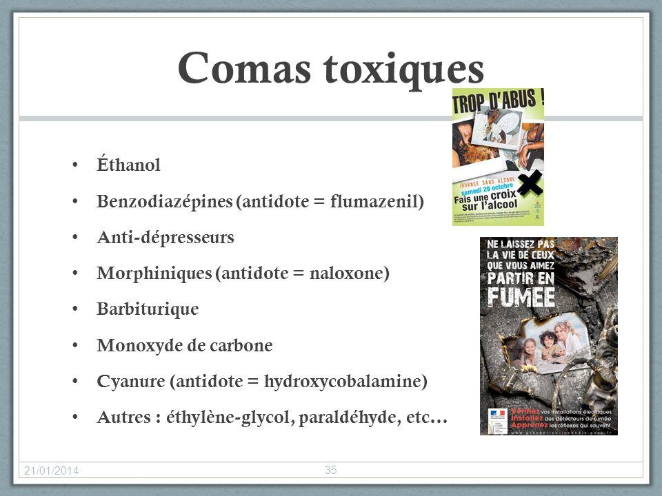 Comas toxiques Éthanol Benzodiazépines (antidote = flumazenil) Anti-dépresseurs Morphiniques (antidote = naloxone) Barbiturique Monoxyde de carbone Cy