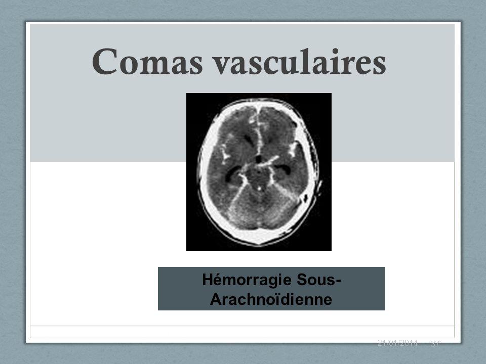 Comas vasculaires 21/01/2014 37 Hémorragie Sous- Arachnoïdienne