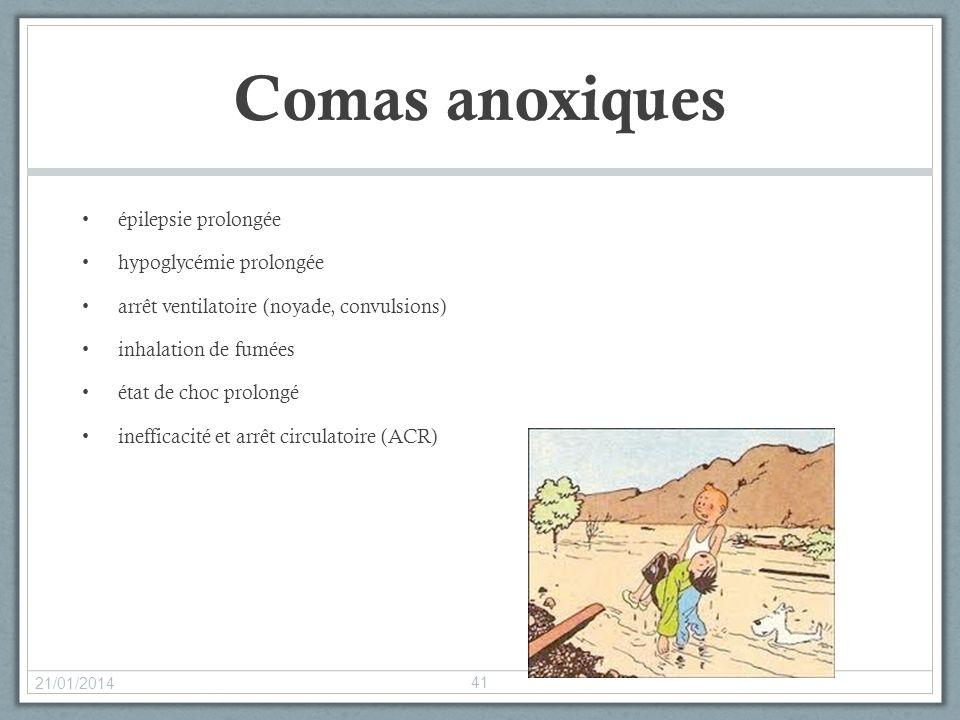 Comas anoxiques épilepsie prolongée hypoglycémie prolongée arrêt ventilatoire (noyade, convulsions) inhalation de fumées état de choc prolongé ineffic