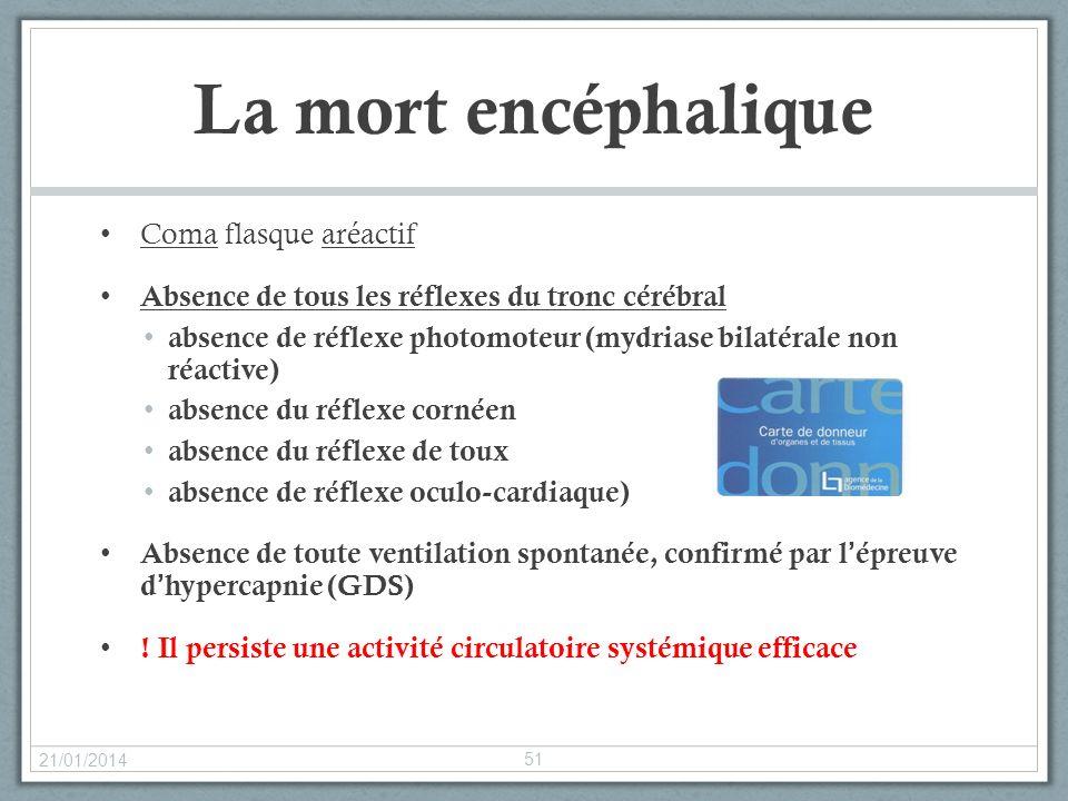 La mort encéphalique Coma flasque aréactif Absence de tous les réflexes du tronc cérébral absence de réflexe photomoteur (mydriase bilatérale non réac
