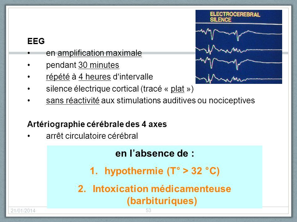 21/01/2014 53 EEG en amplification maximale pendant 30 minutes répété à 4 heures dintervalle silence électrique cortical (tracé « plat ») sans réactiv