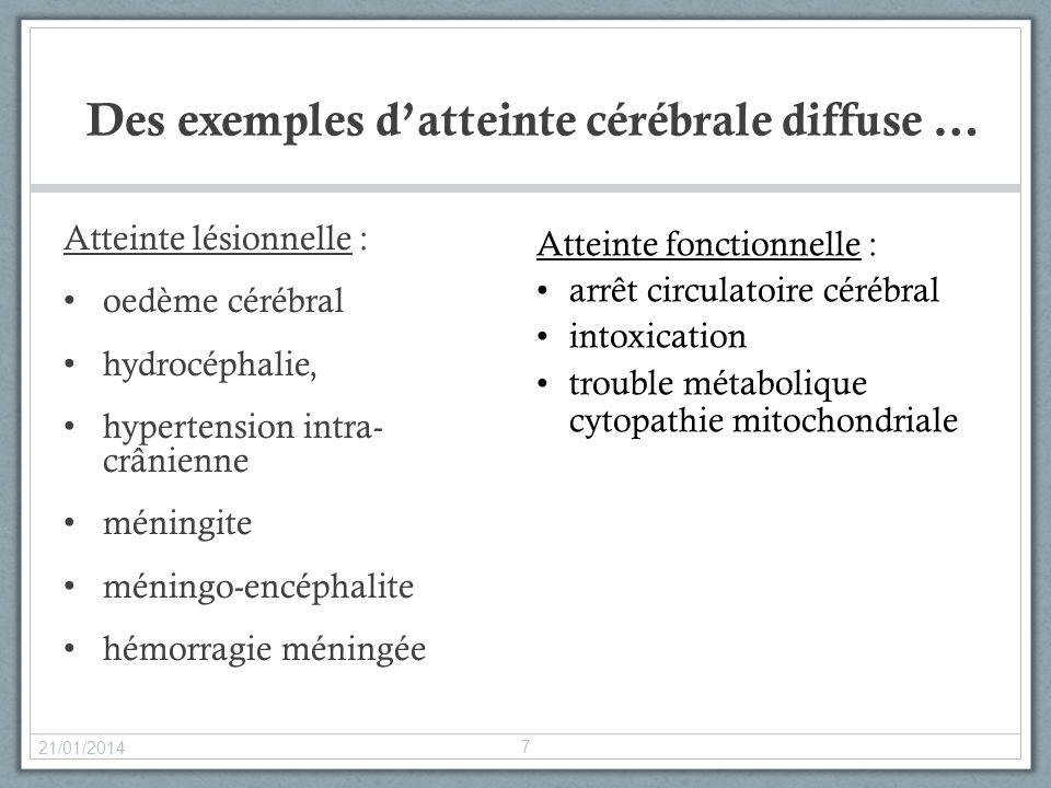 Des exemples datteinte cérébrale diffuse … Atteinte lésionnelle : oedème cérébral hydrocéphalie, hypertension intra- crânienne méningite méningo-encép