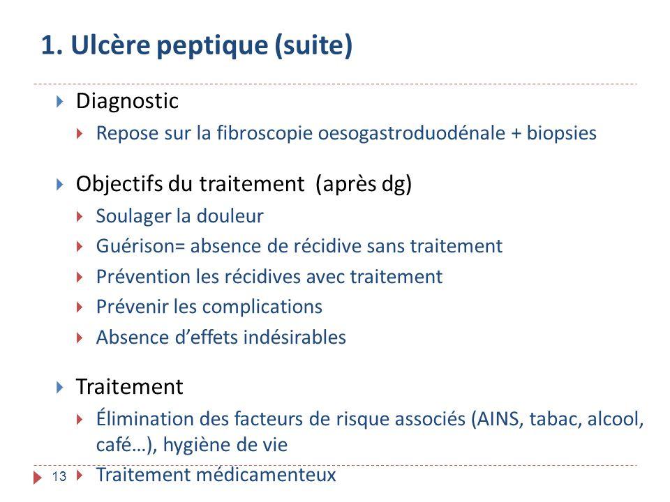 13 1. Ulcère peptique (suite) Diagnostic Repose sur la fibroscopie oesogastroduodénale + biopsies Objectifs du traitement (après dg) Soulager la doule