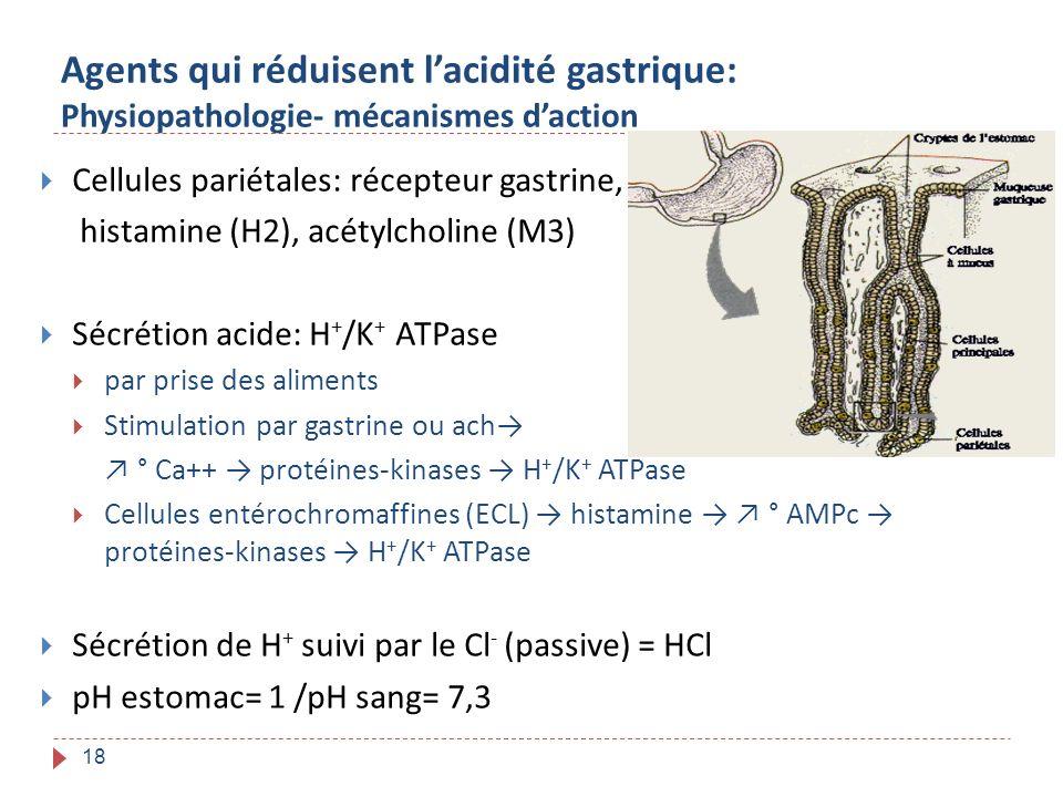18 Agents qui réduisent lacidité gastrique: Physiopathologie- mécanismes daction Cellules pariétales: récepteur gastrine, histamine (H2), acétylcholin