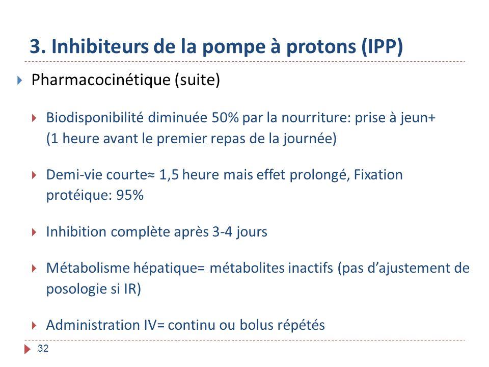 32 3. Inhibiteurs de la pompe à protons (IPP) Pharmacocinétique (suite) Biodisponibilité diminuée 50% par la nourriture: prise à jeun+ (1 heure avant