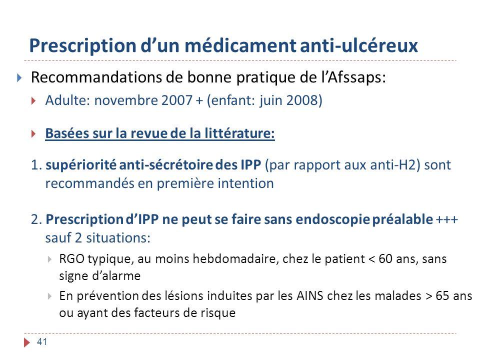 41 Prescription dun médicament anti-ulcéreux Recommandations de bonne pratique de lAfssaps: Adulte: novembre 2007 + (enfant: juin 2008) Basées sur la