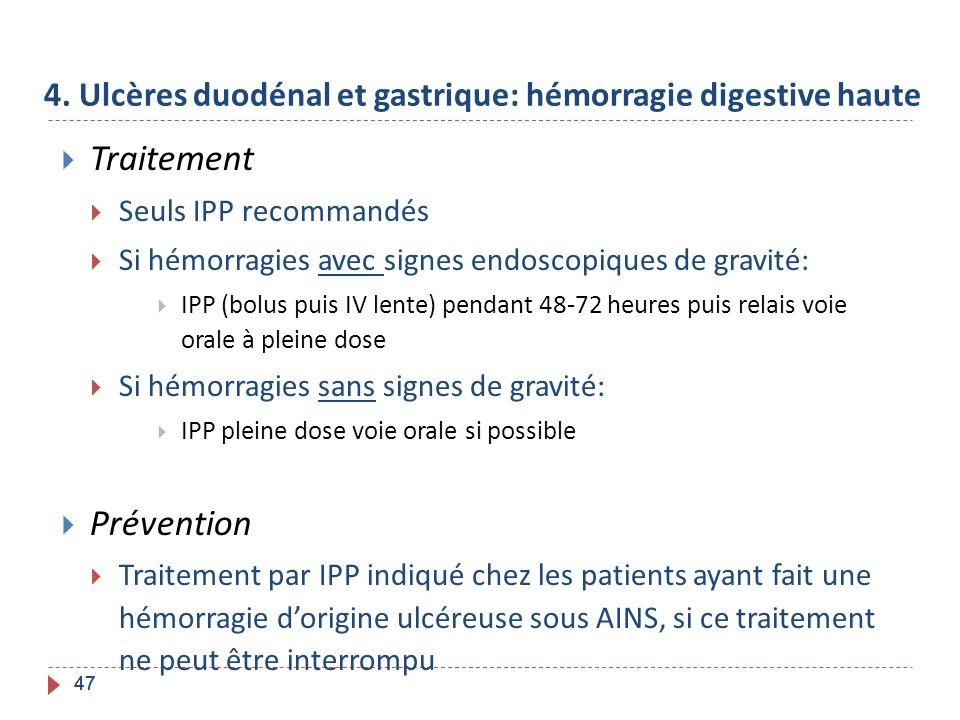 47 4. Ulcères duodénal et gastrique: hémorragie digestive haute Traitement Seuls IPP recommandés Si hémorragies avec signes endoscopiques de gravité: