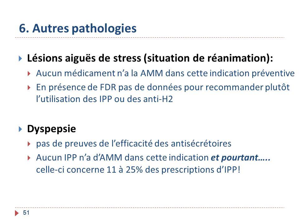 51 6. Autres pathologies Lésions aiguës de stress (situation de réanimation): Aucun médicament na la AMM dans cette indication préventive En présence