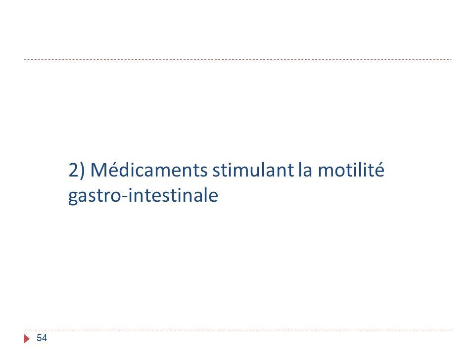 54 2) Médicaments stimulant la motilité gastro-intestinale 54