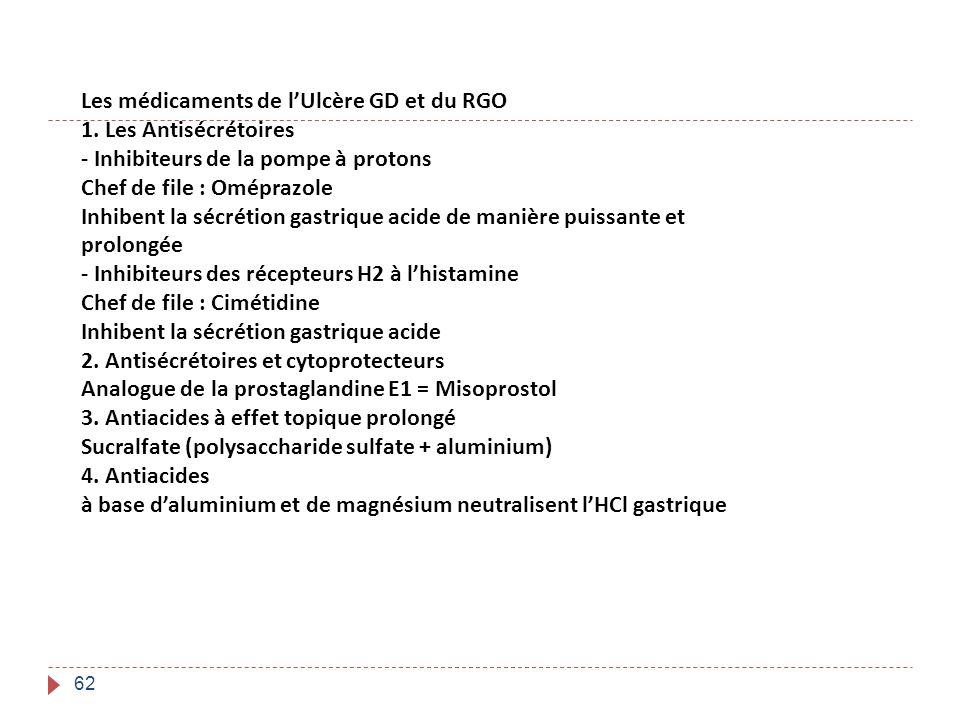 62 Les médicaments de lUlcère GD et du RGO 1. Les Antisécrétoires - Inhibiteurs de la pompe à protons Chef de file : Oméprazole Inhibent la sécrétion