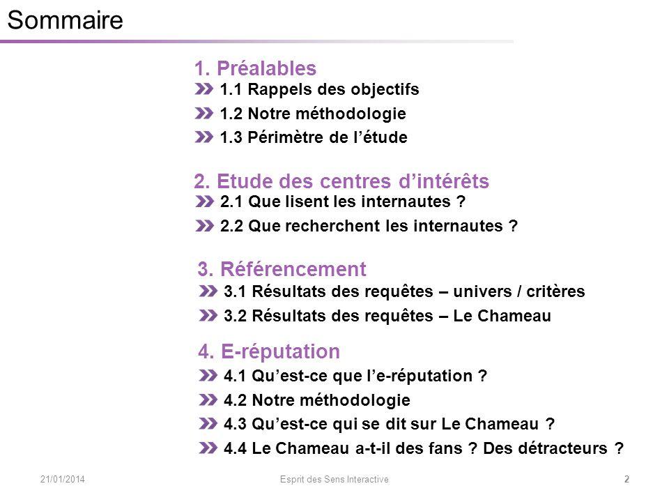 3.1 Conclusions des requêtes – Univers / Critères 21/01/2014 Esprit des Sens Interactive 33 3.