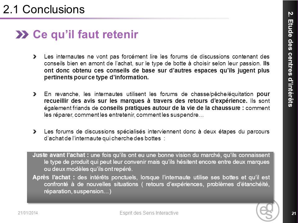 2.1 Conclusions 21/01/2014 Esprit des Sens Interactive 21 2. Etude des centres dintérêts Ce quil faut retenir Les internautes ne vont pas forcément li