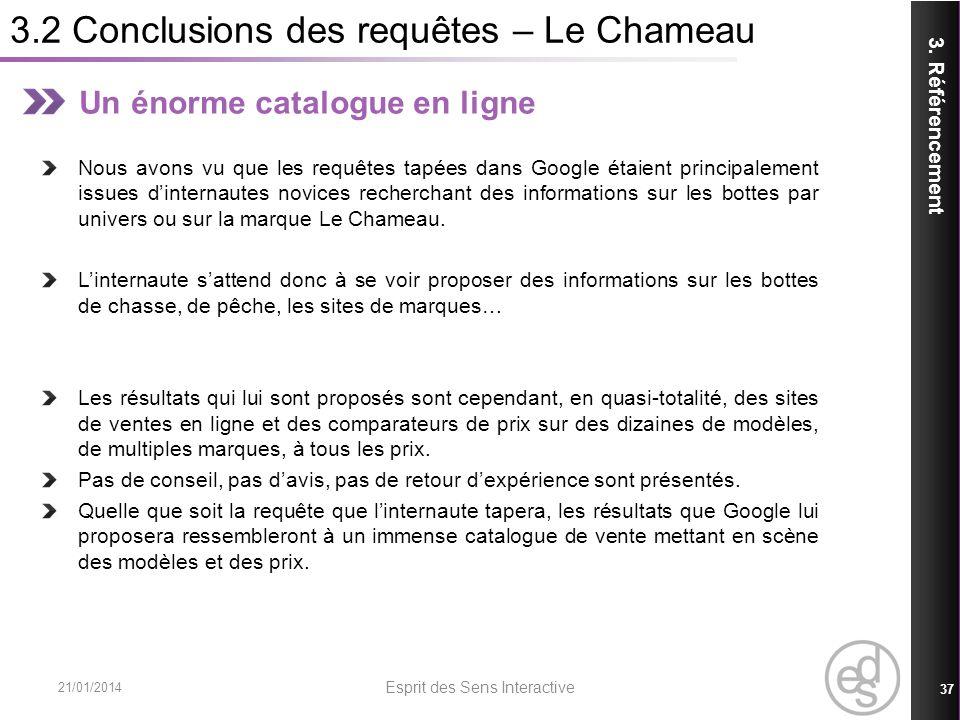 3.2 Conclusions des requêtes – Le Chameau 21/01/2014 Esprit des Sens Interactive 37 3. Référencement Un énorme catalogue en ligne Nous avons vu que le